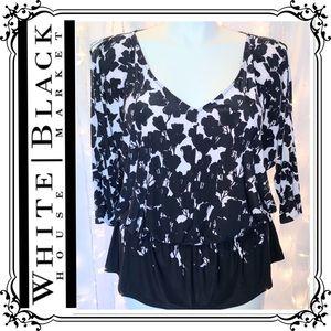 WHBM * Black & White 3/4 Split-Sleeve Blouse * XL